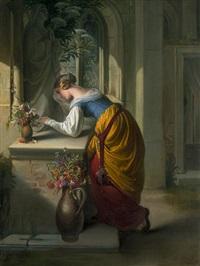 gretchen vor der statue der maria (mater dolorosa) by adam vogler