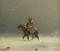 reiter mit kind in einer winterlandschaft by adolf northen