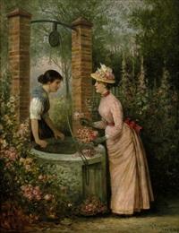 im rosengarten: elegante dame, ein rosenbouquett arrangierend, im gespräch mit einer magd by th. rennert