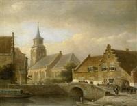 holländische stadt mit steinbrücke über einem kanal by kasparus karsen