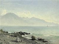 südfranzösische küstenansicht mit gebirge und kleinem segelboot im hintergrund by christian peder mørch zacho