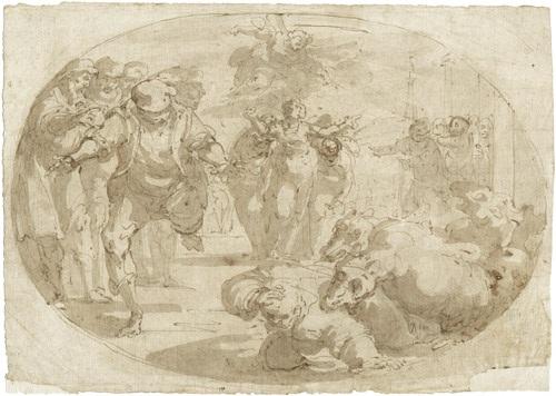 biblische szene bei der ein engel einer heiligen erscheint im vordergrund ein monster by giulio benso