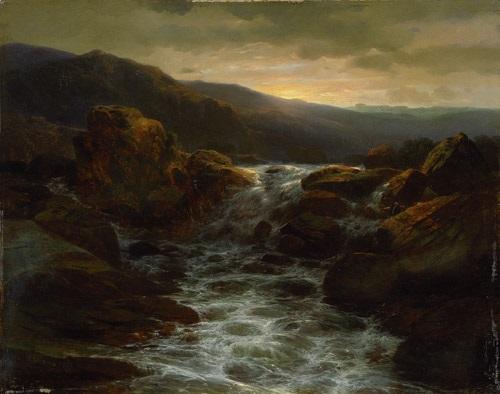 sonnenuntergang über einem wasserfall und stromschnellen in felsiger landschaft by alexandre calame