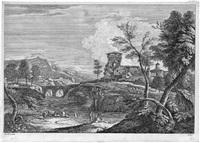 flußlandschaft mit links einer brücke und einem kastell (after marco ricci) by davide antonio fossati