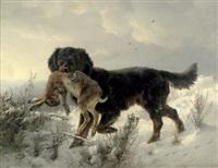 winterlandschaft mit apportierhund by ludwig benno fay