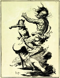 caveman fighting for his woman by frank frazetta