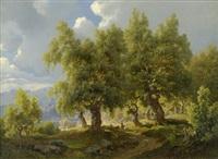 sommerliche landschaft mit eichenhain by joachim frich