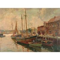 a harbor scene in normandy by william dudley brunett ward jr.