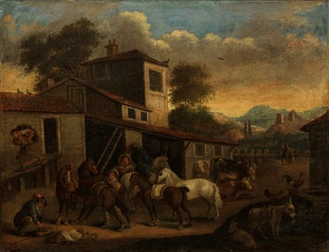 village scene by german school 18