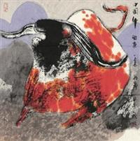 中国牛 镜心 设色纸本 by guan yuliang