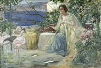 junge frau im garten ihrer villa am meer, mit ihren flamingos by sydney k. hartman