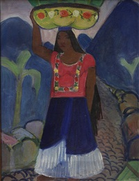mexican woman with baskets in tehauntepec by helena adele dunlap