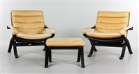 two flex chairs, and one ottoman (3 works) by ingmar anton relling