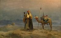 ein arabischer reiter beim abendgebet in der wüste (araberens bön) by niels simonsen