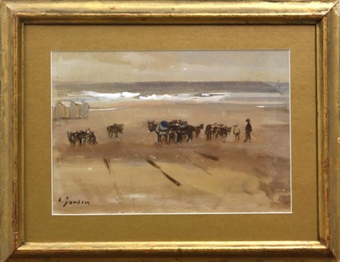 the beach at tourgeville (study) by eugène boudin