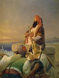 ein arabischer feldherr mit maurischen kriegern auf den zinnen einer festung, bereit eine kanone auf sich nähernde schiffe abzufeuern by niels simonsen
