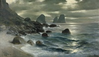 marina piccola auf capri mit blick auf die faraglioni by christian wilhelm allers