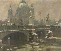 winterliches treiben auf der berliner schlossbrücke mit blick auf den dom by otto antoine