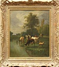 landscape with cows watering by antonio cortés cordero