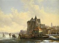 holländische winterlandschaft mit blick auf eine stadt, rechts eisgänger auf dem zugefrorenen fluss by louis smets