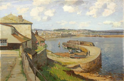 a view of the harbor at newlyn by joseph edward hennah