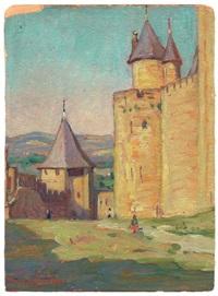 ansicht von carcassonne mit dem tour du moulin du midi by dixie selden