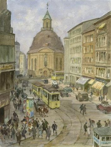 belebte straßenszene an der mauerstraße in berlin mit blick auf die dreifaltigkeitskirche by otto antoine