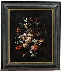 roses, tulips, carnations, a butterfly and other flowers in a vase on a table by simon pietersz verelst