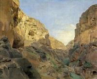 blick in das flusstal wadi kelt (wadi qilt) bei jerusalem by gustav bauernfeind