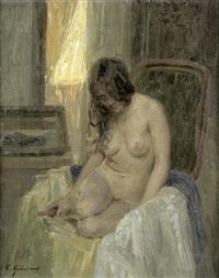 weiblicher akt auf einem lehnsessel by emil gustav adolf glockner