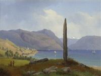 der frithjof gedenkstein in leikanger bei balestrand in norwegen by gustaf wilhelm palm
