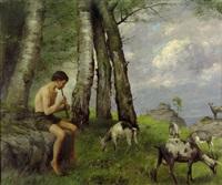 arkadische landschaft mit jungem hirten und ziegenherde by carl weber