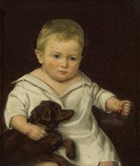 knabe im weißen hemdkleid mit hund, in der rechten hand kirschen by louis auguste francois aumont