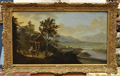 mountain landscape with villagers by jacob de heusch