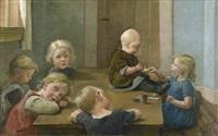 nach dem mittagsmahl: schlafende und essende kinder rund um einen tisch (after dem mittagsmahl: schlafende und essende kinder rund um einen tisch) by emilie (caroline e.) mundt