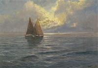 segelschiffe im abendrot by arthur tomson