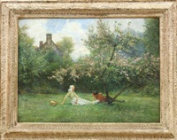 lovers in orchard by george edward robertson