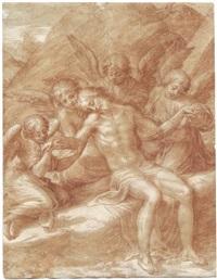 der leichnam christi, von engeln gehalten by michelangelo anselmi