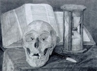 a vanitas still life with a skull, an hourglass, a book and a fan by cornelis (corrie) johanna pabst