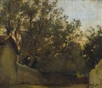 römische vigna mit olivenhain by rudolf ernst