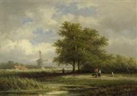 holländische sommerlandschaft mit windmühle by georgius heerebaart