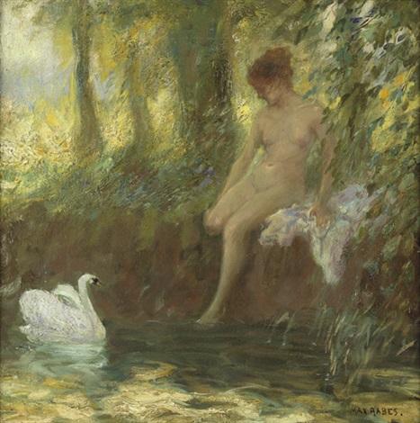 waldweiher mit junger frau beim bad by max friedrich rabes