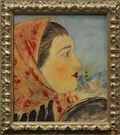 head of a woman in profile by boris mikhailovich kustodiev