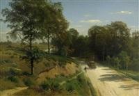 sommerliche heidelandschaft mit zweispänner auf einer sandstrasse by carl julius e. ludwig