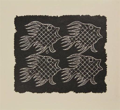 vlakvullingsmotief met vissen en vogel by m c escher