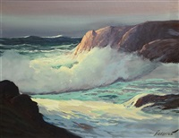 crashing wave in sunlight by george sanders bickerstaff