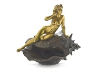 figure of a maiden on shell by emmanuel villanis