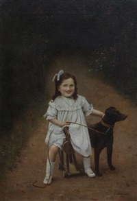girl with dog by charles spencelayh