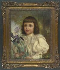 dunkelhaariges mädchen in weißer bluse mit spitzenkragen mit blumenkorb und schwertlilien, margerite, wiesenflockenblumen unter anderem wiesenblumen in den händen. halfigur by fernand lematte