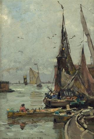fischerboote im hafen von vlissingen by hans herrmann